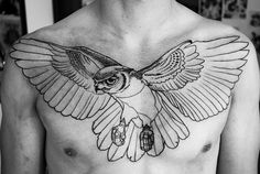 owl outline ink tattoo