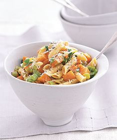 Pasta With Sweet Potatoes and Leeks from realsimple.com #myplate #vegetables