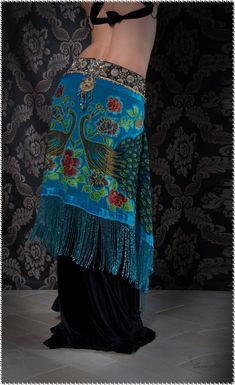 Peacock design, Tribal Fusion Belt Tribal Belly Dance Belt Belly by DancingTribe.