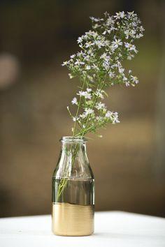dip vase, gold dip, dipped bottles, flower