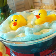 Punch Idea for Baby Shower! Rubber Duck/Bubble Bath - blue hawaiian punch, vanilla ice cream, and 7up