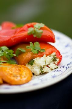 Pepper stuffed with feta and cous cous