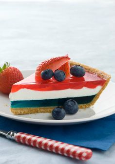 JELL-O Easy Patriotic Pie — Looking for something other than the ol' strawberries and blueberries on pound cake? Check out our easy layered pie for a new take on patriotic desserts.