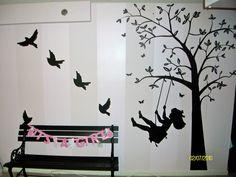 White-on-white striped walls and black silhouettes make a lovely #neutral #nursery. #blackandwhite