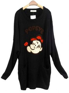 Bat Sleeve Imitation Rabbit Hair Sweater Black$39.00