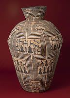 A very large (3.5 ft tall) basket from Western Apache or Yavapai created about 1900 by an obviously very talented weaver.