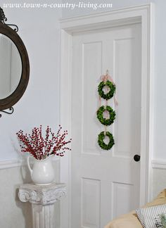 DIY Christmas Decor - Trio of Hanging Boxwood Wreaths