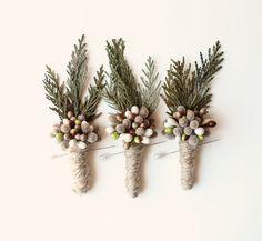 woodland boutonniere, winter weddings, groomsmen wedding boutonniere, natural keepsake, rustic boho boutonniere - PINE on Etsy, $12.98 CAD