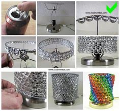 lampara con anillas de latas