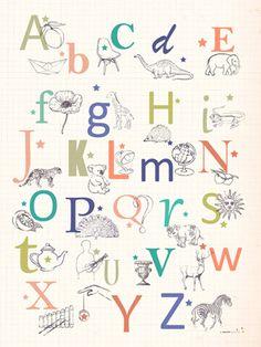 Affiche Abécédaire pour Enfant - L'Encre Violette - L'Affiche Moderne
