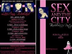 Sex and the City Bachelorette Party Invitation parti invit, bachelorette parties, bachelorett parti