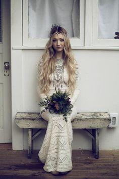 Bohemian Bride / Brice & Leah's Real Wedding 'Bona Fide Bohemian' featured on The LANE. (instagram: the_lane) wedding dressses, bohemian bride, crochet wedding, bohemian weddings, gown, white lace, boho, beauty, hair