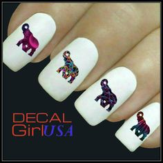 Nail Art Decals 32 Elephant Nail Decals by DecalGirlUSA on Etsy, $3.85