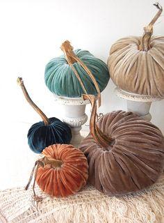 I love these Velvet Pumpkins for Fall Decorating