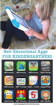best iphone ipad educational apps for kindergartners. . .Just downloaded a few of these for my kids.  Nice because some are versatile.  I have 5 kids and needed something that each can use.