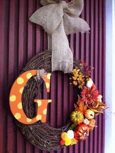 Fall wreath G initial :) | #fall #diy #craft #crafty pinned by Western Sage and KB Honey (aka Kidd Bros)