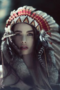american indians, native americans, eyebrow, headpiec, dress, fashion beauty, boho, fashion photography, feathers