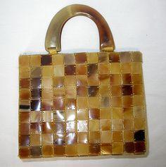 Vintage Blond Tortoise Shell Handbag (Pre-ban)