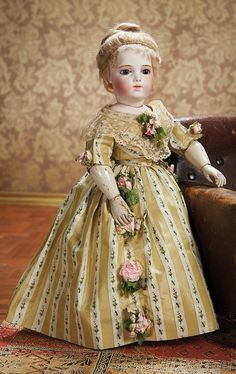 Rare and Beautiful Bebe Brevete by Leon Casimir Bru with Gorgeous Antique Costume. Circa 1877. http://Theriaults.com