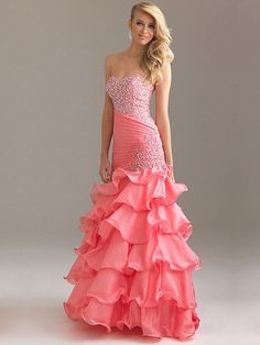 Mermaid Pink Sweetheart Ruffles Open Back Long Prom Dress With Sequins WDPDF1044