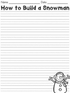 How to Build a Snowman Writing Paper- FREEBIE