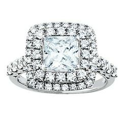 GORGEOUS Princess Cut Halo Engagement Ring