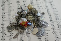 Vintage Antique Brass Charm Bracelet with by LoveYouMoreDesigns, $32.50