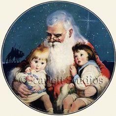 children graphic, franc tipton, vintag christma, vintag children, franc hunter, santa claus, artist franc, tipton hunter, hunter art