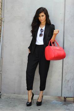 cat eye sunglasses, business woman, fashion girl, streetstyle blogger, 2013 streetstyle, sazan barzani, line dot, black blazer, harem pants,...