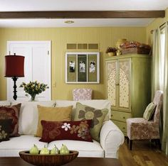 Love this!  Green, Brown, & Gold...  Sunny Yellow Living Room