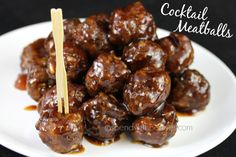 Delicious Cocktail Meatballs!  I know the ingredients in the sauce sound CRAZY but trust me, they're DELICIOUS!!!