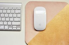 freshly picked pink/gold leather mousepad