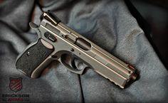 CZ-75 SP-01 Shadow we just finished in Cerakote Tungsten H-237 and Graphite Black H-146 #EricksonArms #CZ #Guns #Cerakote gun stuff