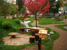 Natural playgrounds lend themselves to the Montessori Method of education beautifully!
