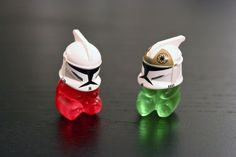 Gummy bears wearing clone trooper helmets. This amuses me than it should.