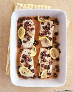 Baked Cod with Olives Holiday Dinner Recipe