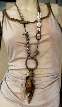 Mynshassah  statement ethnographic necklace  by sparrowsalvage, $165.00