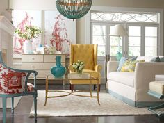turquoise, coral, yellow - living room!