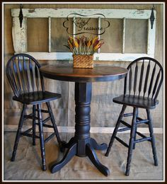 distressed black bar top table and chairs,diy,tutorial,old door,rustic,refinished,furniture bar top