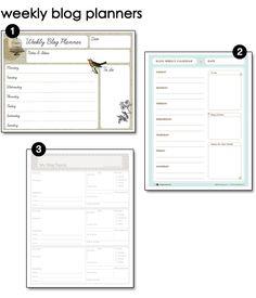 Free Printable Weekly Blog Planners