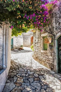 Afionas old town on Corfu, Greece by Willem Verboom