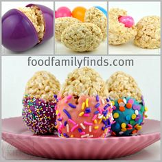 The kids will love these rice crispy Easter eggs! This idea and more here! #Easter #Baking #DIY