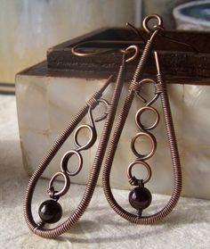 wrap earring, wire wrap, garnet bead, copper, garnet wire, jewelri, bead wire, earring wire, earrings
