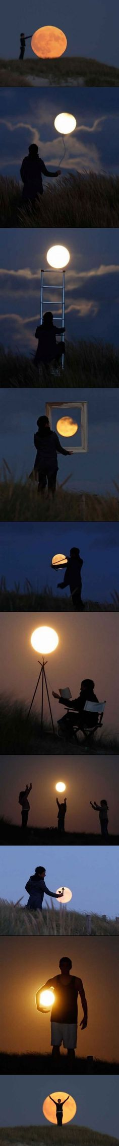 Playing with the moon.