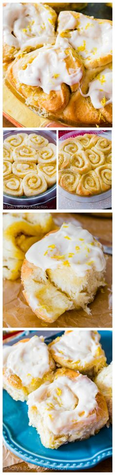 Fluffy lemon sweet rolls covered in a simple lemon cream cheese frosting. These rolls use my quick sweet roll dough – only 1 rise!