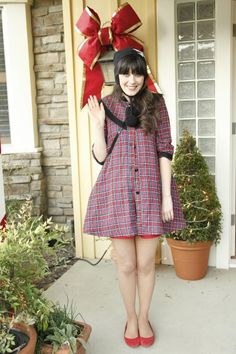 "Jess' (Zooey Deschanel) dress coat from the ""Christmas"" episode of NEW GIRL on FOX."