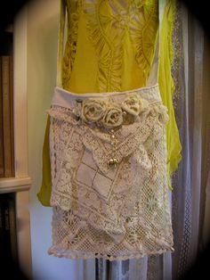Handmade Fabric Bag vintage crocheted doilies by TatteredDelicates,