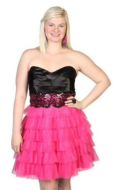 plus size tiered mesh party dress with satin bodice