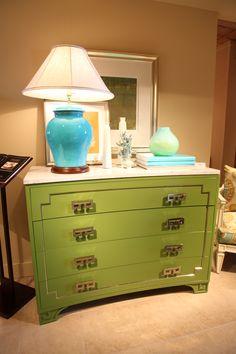 Green Greek Key Dresser by Oscar de la Renta for Century Furniture