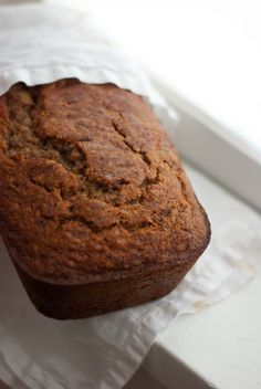 This was my first time using coconut oil instead of butter/shortening while baking. I made muffins instead of a loaf and they were delicious. You would never guess they were healthier than regular banana bread.